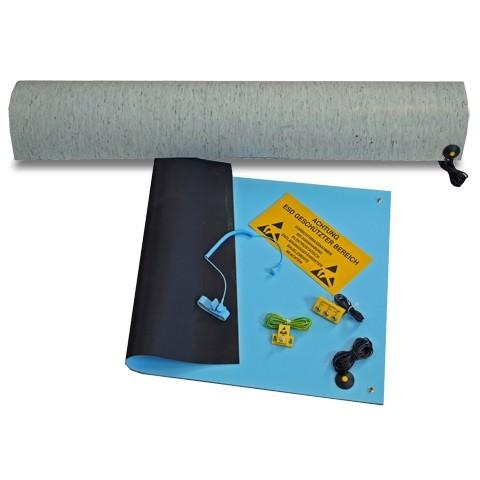 ESD Arbeitsplatz Kit blau, mit langer Bodenmatte