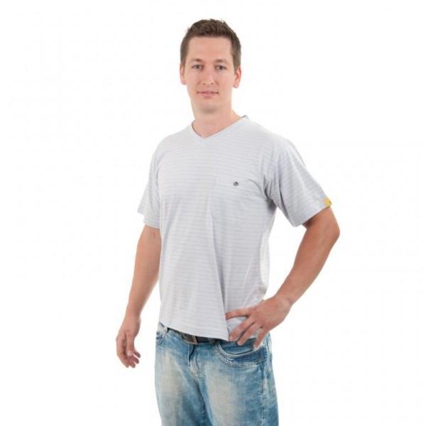 ESD Herren T-Shirt V-Kragen grau Gr M