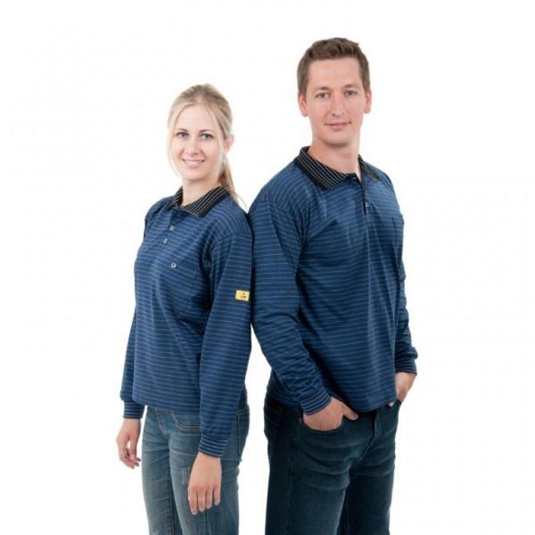 ESD Poloshirt, langarm dunkelblau Gr. M