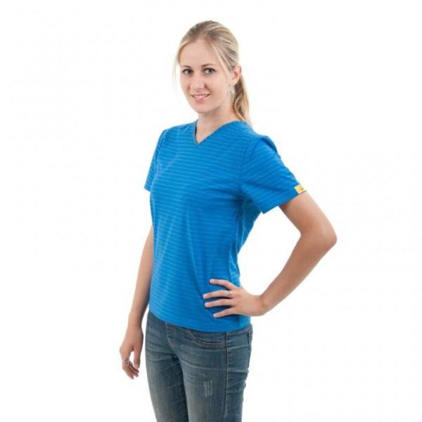 ESD T-Shirt V-Kragen Damen blau Gr.: M