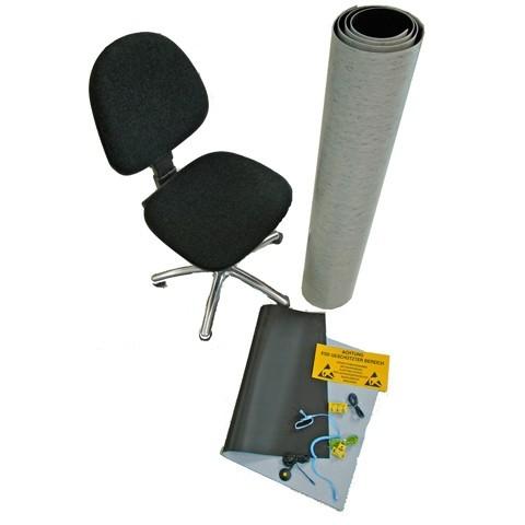ESD Arbeitsplatz Kit, mit langer Bodenm. + Stuhl
