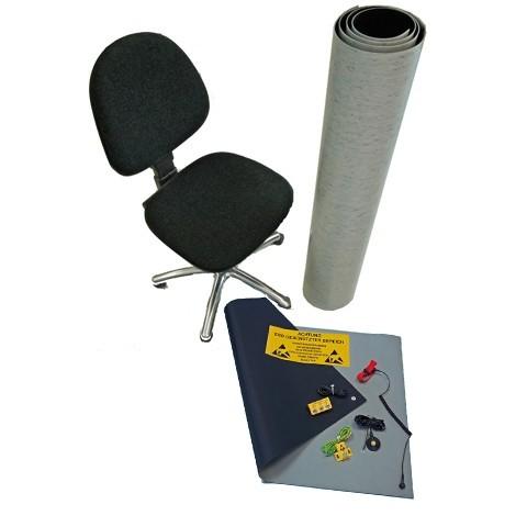 ESD Arbeitsplatz Kit grau, mit kurzer Bodenmatte